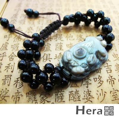Hera 天然波斯瓦納精雕迎財納福貔貅天眼手鍊(獨一無二)