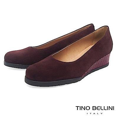Tino Bellini西班牙進口全真皮異材質小坡跟鞋_咖紅