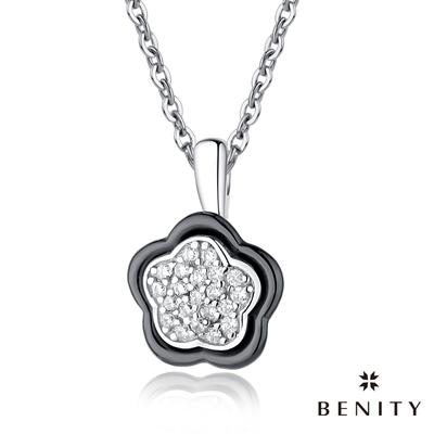 BENITY 花妍 黑陶瓷款 316L白鋼鍊/西德鋼 八心八箭CZ美鑽 女項鍊