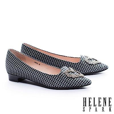 低跟鞋 HELENE SPARK 復古華麗心型白鑽飾千鳥紋絨布低跟鞋-綠