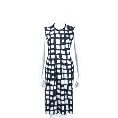 Max Mara-'S Max Mara 藍白格紋鑽飾純棉無袖洋裝