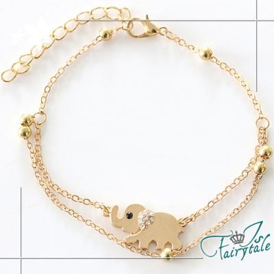 iSFairytale伊飾童話 金繽小象 雙層珠珠手鍊