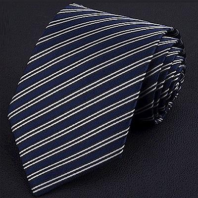 拉福   雙藍斜8CM寬版領帶手打領帶