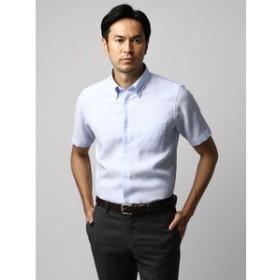 【UNIVERSAL LANGUAGE:トップス】【半袖・ICE COTTON】ボタンダウンカラードレスシャツ 織柄