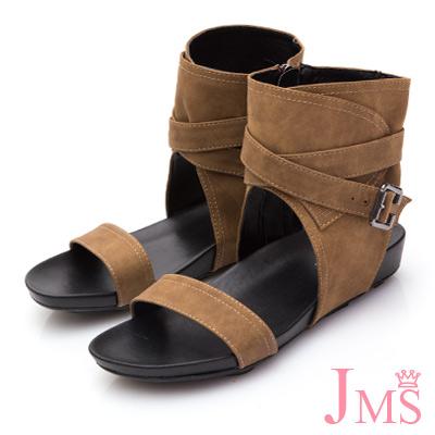 JMS-簡約一字帥氣潮流款靴型涼鞋-棕色