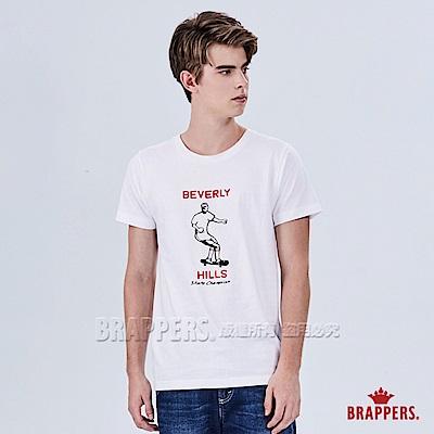 BRAPPERS 男款 日本製滑板人物印刷T恤-白