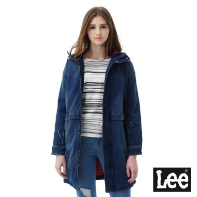 Lee 長板連帽牛仔舖棉外套-女款-藍色