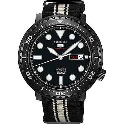 SEIKO 精工5號系列 復刻運動機械錶(SRPC67J1)-黑x帆布帶/44mm
