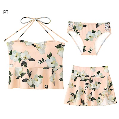 aimerfeel 花卉綁繩3件式泳衣-粉紅色