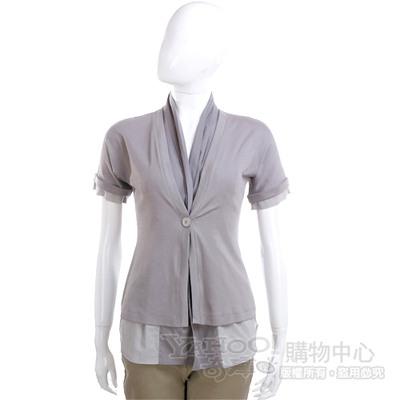 FABIANA FILIPPI 灰色單釦拼接短袖上衣