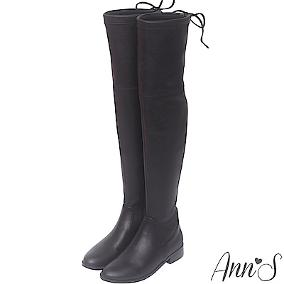 Ann'S 鳥仔版 獨創防滑膠條超窄版過膝靴  羊紋黑