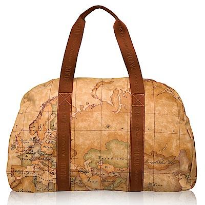 Alviero Martini 義大利地圖包 PU休閒手提肩背旅行袋(大)-地圖黃