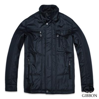 GIBBON 韓式亮面設計款輕暖外套‧黛黑色