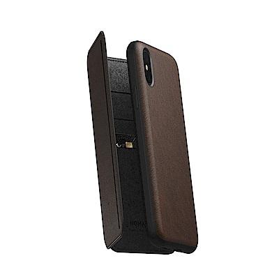美國NOMAD經典皮革三折側掀收納保護套- iPhone X/Xs 棕