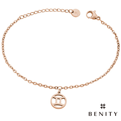 BENITY 星座吊飾 星座物語 雙子座 醫療級抗敏 白鋼 IP玫瑰金 女手鍊
