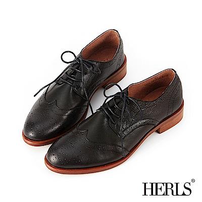 HERLS 復古文青 全真皮雕花德比牛津鞋-黑色