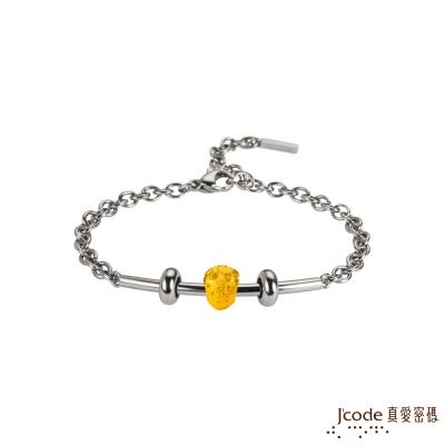 J code真愛密碼金飾 草莓黃金/白鋼女手鍊