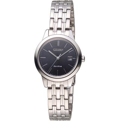 CITIZEN 星辰素面百搭優雅女腕錶(EW2230-81E)-黑/28mm
