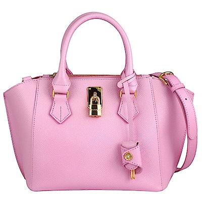 Samantha Thavasa 粉紅色荔枝紋真皮三層扇型斜背/手提包