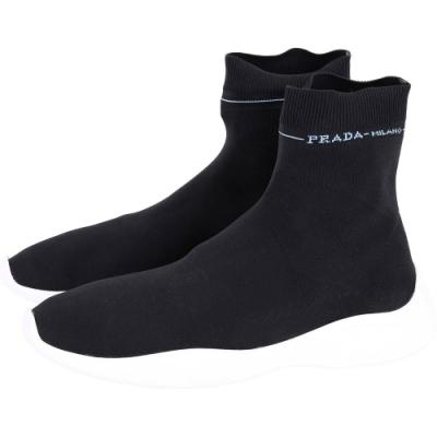 PRADA Etiquette 標籤彈性面料襪套運動鞋(女款/黑色)