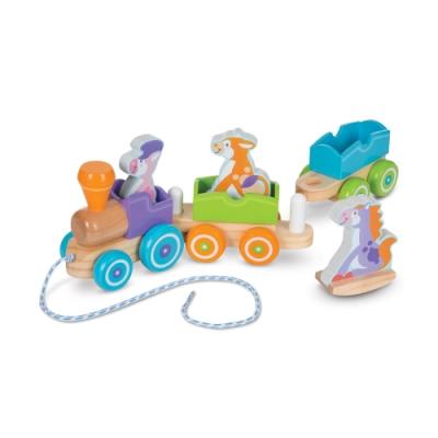 美國瑪莉莎 Melissa & Doug 幼兒啟蒙 - 搖擺動物拉繩小火車