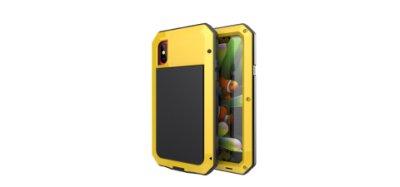 3色i Phone X/Xs黃色TANK☆防摔鋁合金屬邊框背蓋手機殼保護殼+鋼化玻璃膜