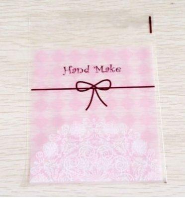 粉紅色小點心 opp自黏袋 包裝袋 餅乾袋 10*10+3