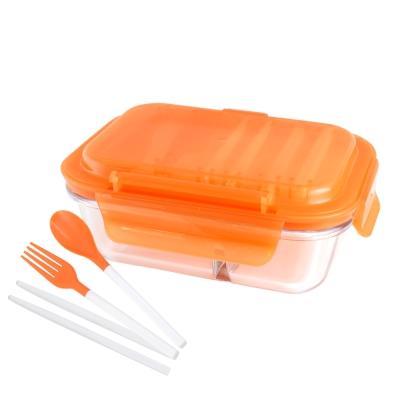 美國Winox 安玻立體2分隔玻璃保鮮盒600ML附組合餐具