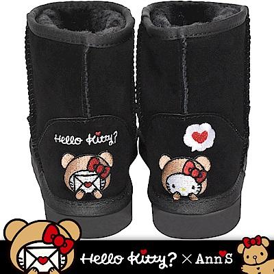HELLO KITTY X Ann'S棕色熊熊精密彩色刺繡超短筒麂皮雪靴  黑