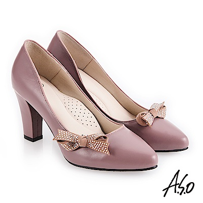 A.S.O 阿瘦 百變女伶 健步通勤蝴蝶裝飾高跟鞋 淺紫 10027000655-72