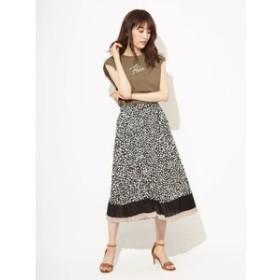 【Fabulous Angela:スカート】レオパードブロッキングプリーツロングスカート