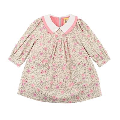 愛的世界 MYBABY 玫瑰拉鍊薄長袖洋裝/4~10歲