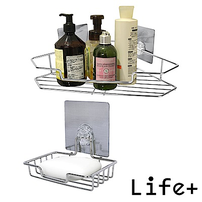 Life Plus 環保無痕魔力貼掛勾(三角置物架+肥皂架)