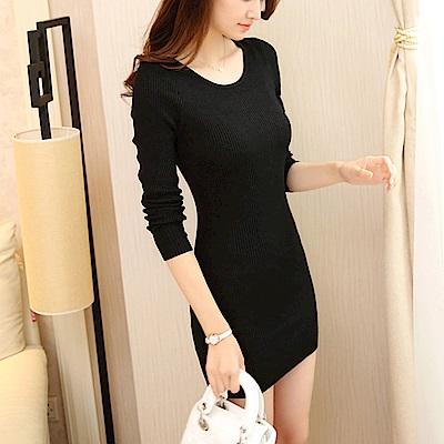 Lockers 木櫃 素色包裙豎紋顯瘦中長款連衣裙-4色