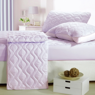 eyah宜雅 台灣製純色加厚舖棉保潔墊床包式單人-魅力紫