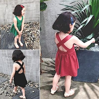 小衣衫童裝  女童清涼露背交叉連身裙小洋裝1080206