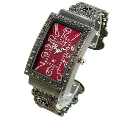Mirabelle 復古鏤空方框手鐲錶-紅/27x40mm