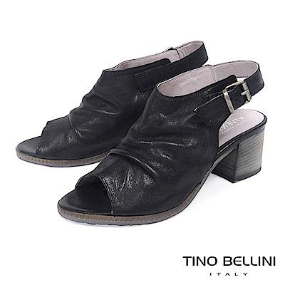 Tino Bellini 義大利復古感全真皮高跟魚口涼鞋 B73225