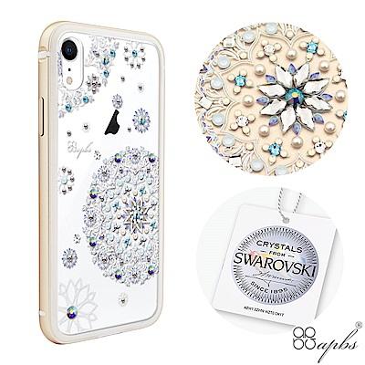 apbs iPhone XR 6.1吋施華彩鑽鋁合金屬框手機殼-金色天使心