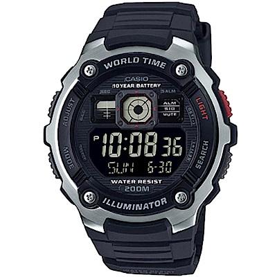 CASIO 深海潛將數位電子膠帶錶(AE-2000W-1B)黑面/48mm