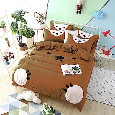 HUEI生活提案 柔絲絨被套床包三件組 單人 熊愛睏咖