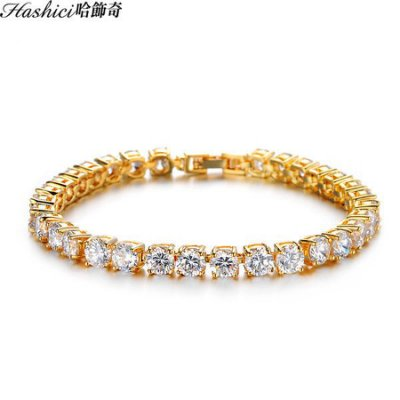 銅度24K金 典雅排鑽 復古金手鍊 文定之喜 結婚必備 新郎新娘 單條價【CKA408】哈飾奇