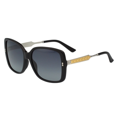 GUCCI 皇室風格紋路 太陽眼鏡(黑色)