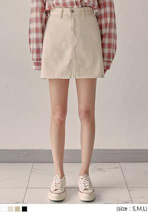 韓國空運 - 素面多口袋A字棉質短裙 裙子