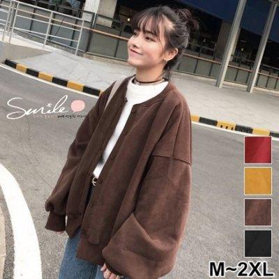 【V2111】SMILE-原宿風.百搭純色寬鬆袖刷毛長袖外套