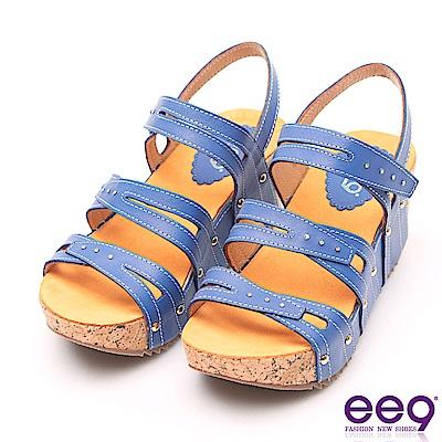 ee9 MIT經典手工鑲嵌亮鑽金屬鉚軟木紋楔形跟涼鞋  藍色
