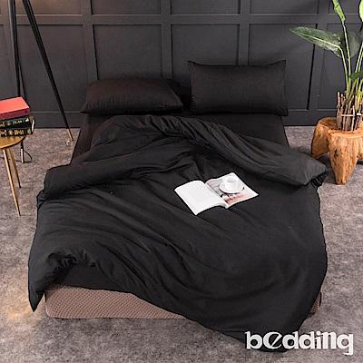 BEDDING-活性印染日式簡約純色系雙人薄式床包枕套三件組-黑沙色