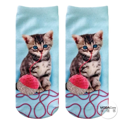 摩達客 美國進口 Living Royal 閃亮線球貓 短襪腳踝襪彈性襪動物圖案襪