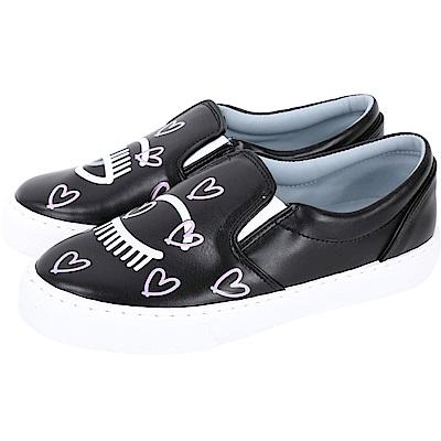 Chiara Ferragni Flirting 愛心塗鴨眨眼厚底鞋(黑色)