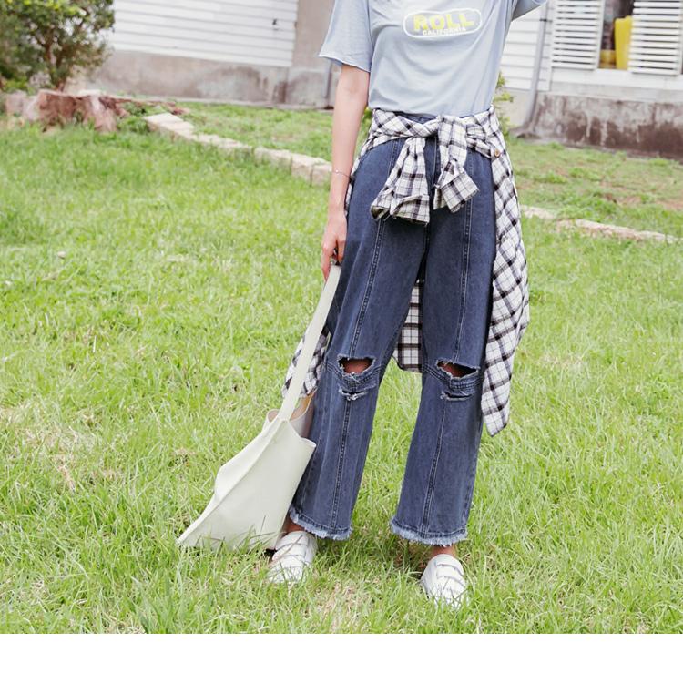 刷破前車線抽鬚造型男友寬版牛仔長褲